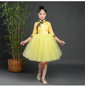 Kids princess dresses jazz singers chorus stage performance qipao dresses model show party dresses
